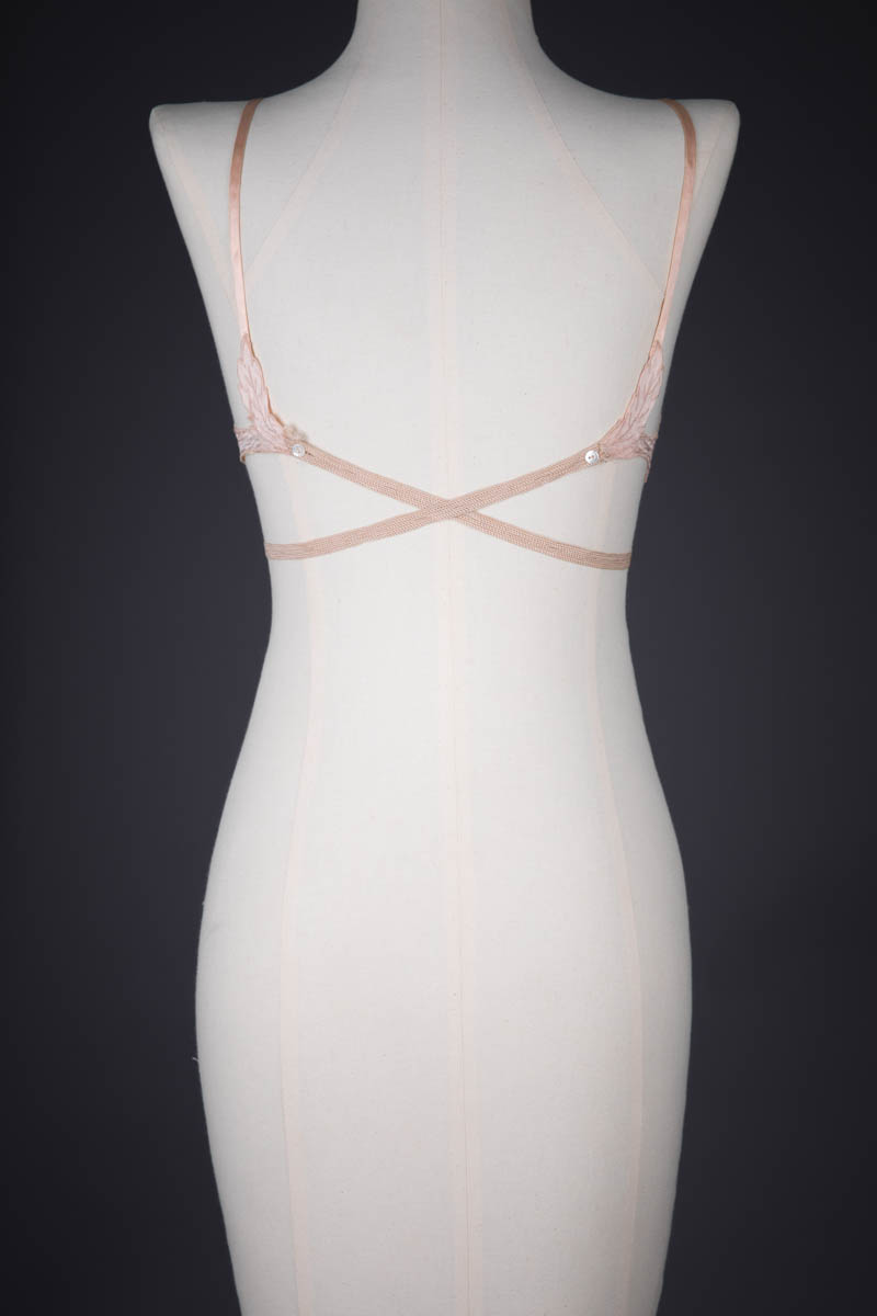 Floral Silk Appliqué Kestos Style Bra By Maryvon, c. 1930s, France. The Underpinnings Museum. Photography by Tigz Rice.