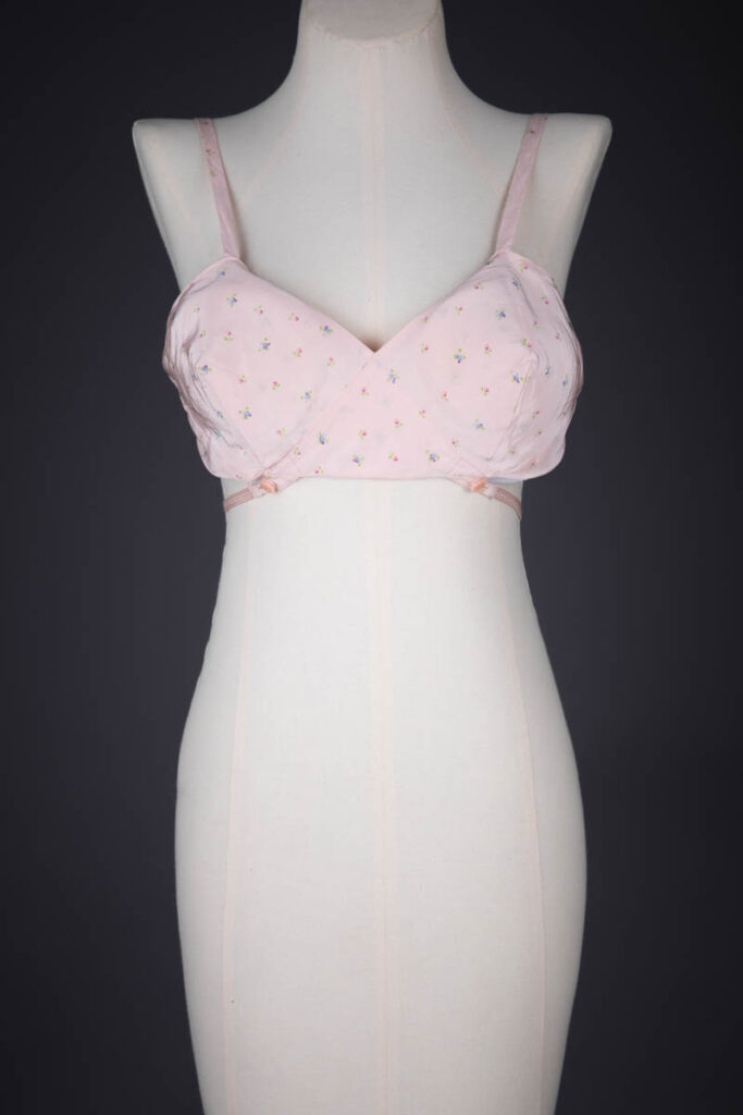 Floral Printed Rayon Kestos Style Bra, c. 1930s, USA. The Underpinnings Museum. Photography by Tigz Rice