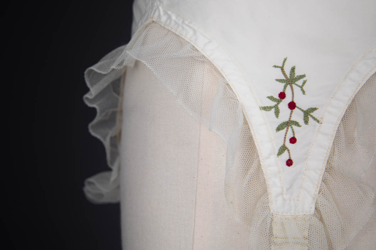 Cherry Embroidered Nylon Suspender Belt By Cadolle, c. 1950s, France. The Underpinnings Museum. Photography by Tigz Rice