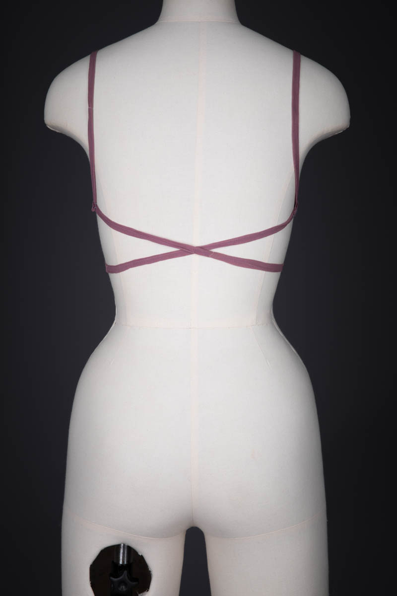 Hand Embroidered Silk Georgette Kestos Style Bra, c. 1930s, Great Britain. The Underpinnings Museum. Photography by Tigz Rice