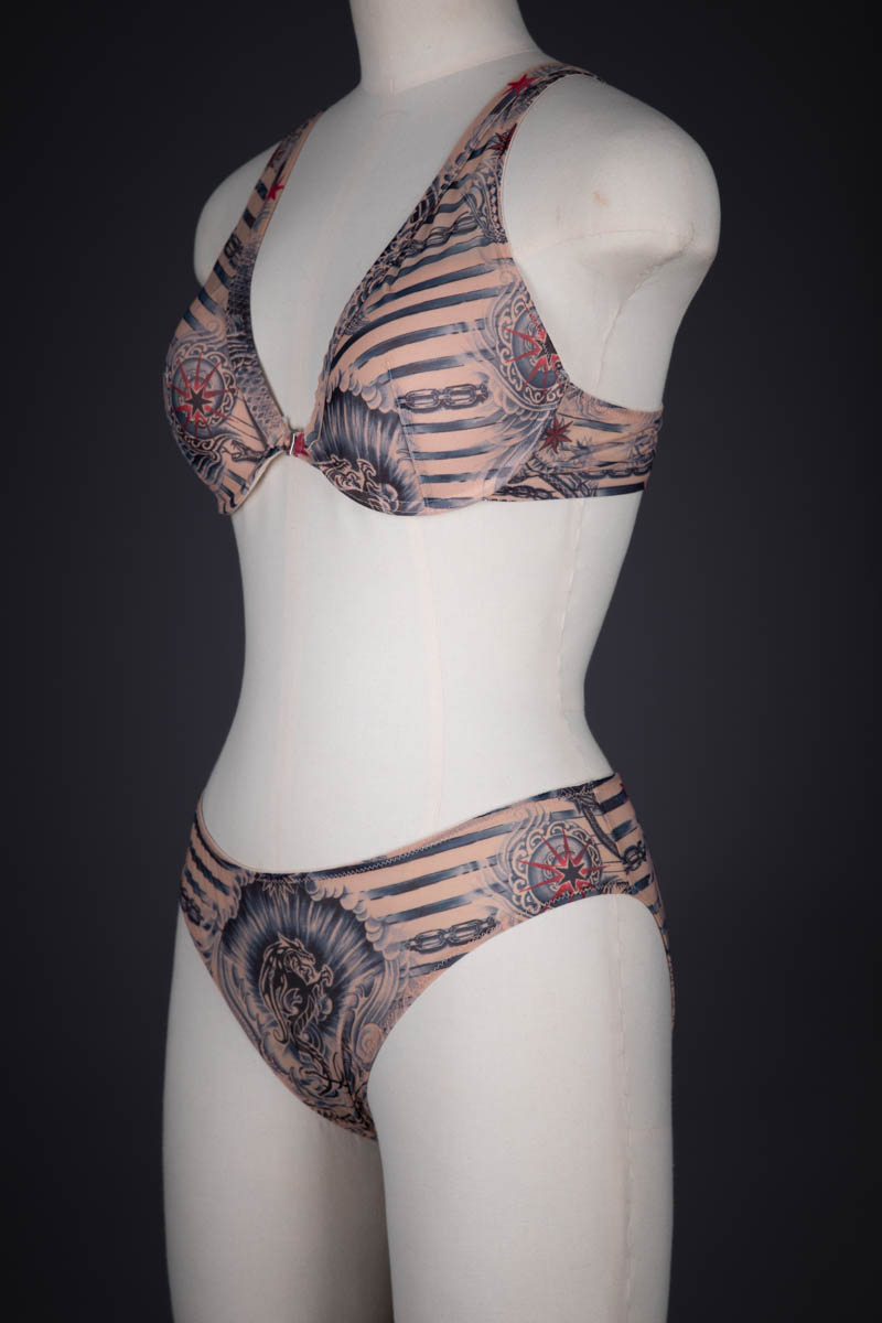 Tattoo Print Mesh Molded Cup Bra & Briefs By Jean Paul Gaultier For Lindex, 2014, Sweden. The Underpinnings Museum. Photography by Tigz Rice