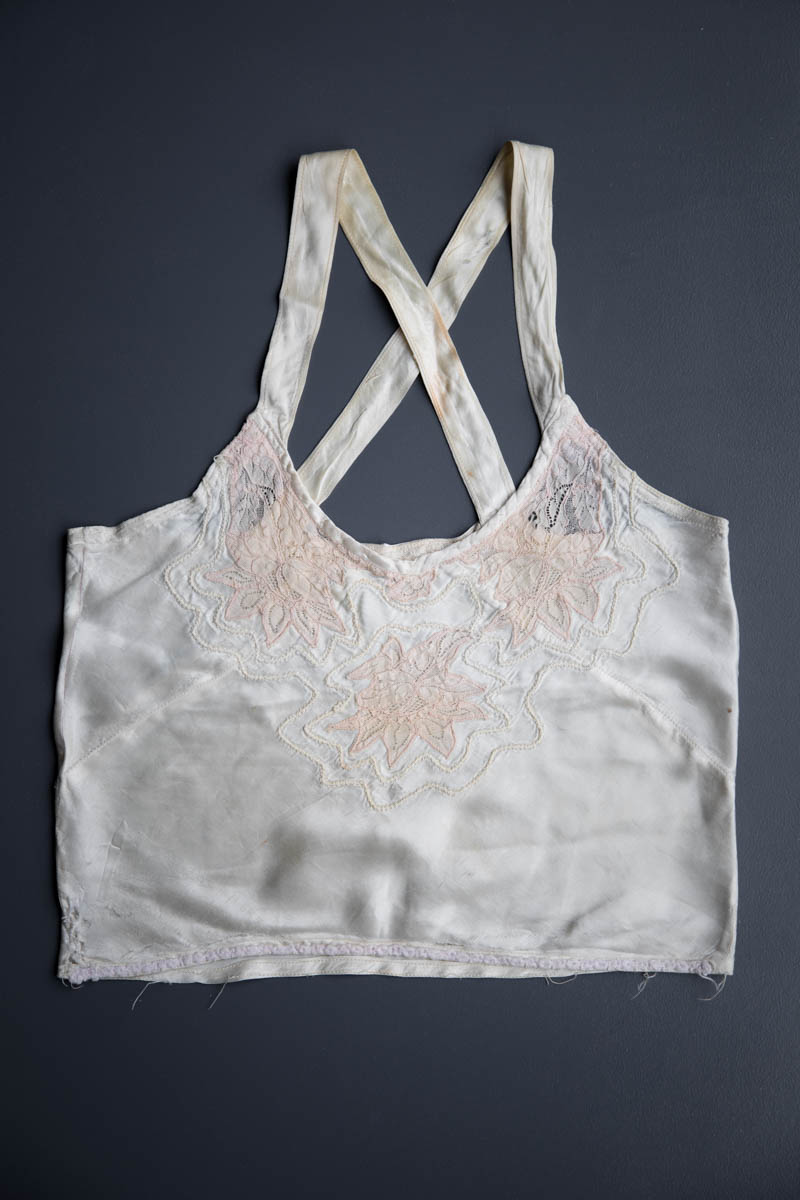 Bias Cut Satin Camisole With Lace Appliqué, c. 1930s. The Underpinnings Museum. Photography by Tigz Rice
