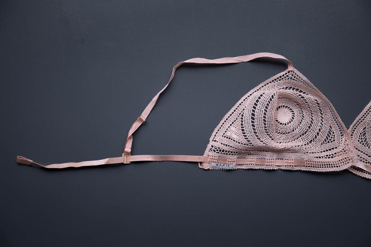 Tea Rose Elasticated Crochet Bra By Karis, c. 1930s, France. The Underpinnings Museum. Photography by Tigz Rice