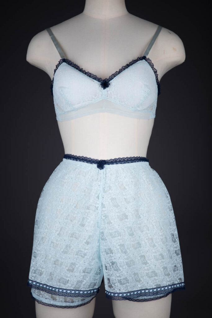 Ice Blue & Navy Nylon Lace Bra & Tap Pants By Cadolle, c. 1960s, France. The Underpinnings Museum.