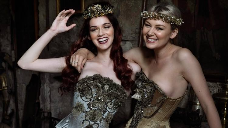 'Pyrite' and 'Unicorn' Corsets by Sparklewren. Modelled by Helen Teiman and Sarah Simms. Photography by Jenni Hampshire