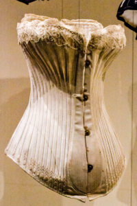 The original 'Bird's Wing' Corset, displayed at the now closed Snibston Discovery Museum in 2012. The corset is now held in the Leicestershire County Council's Museum Service. Photo by K. Laskowska.