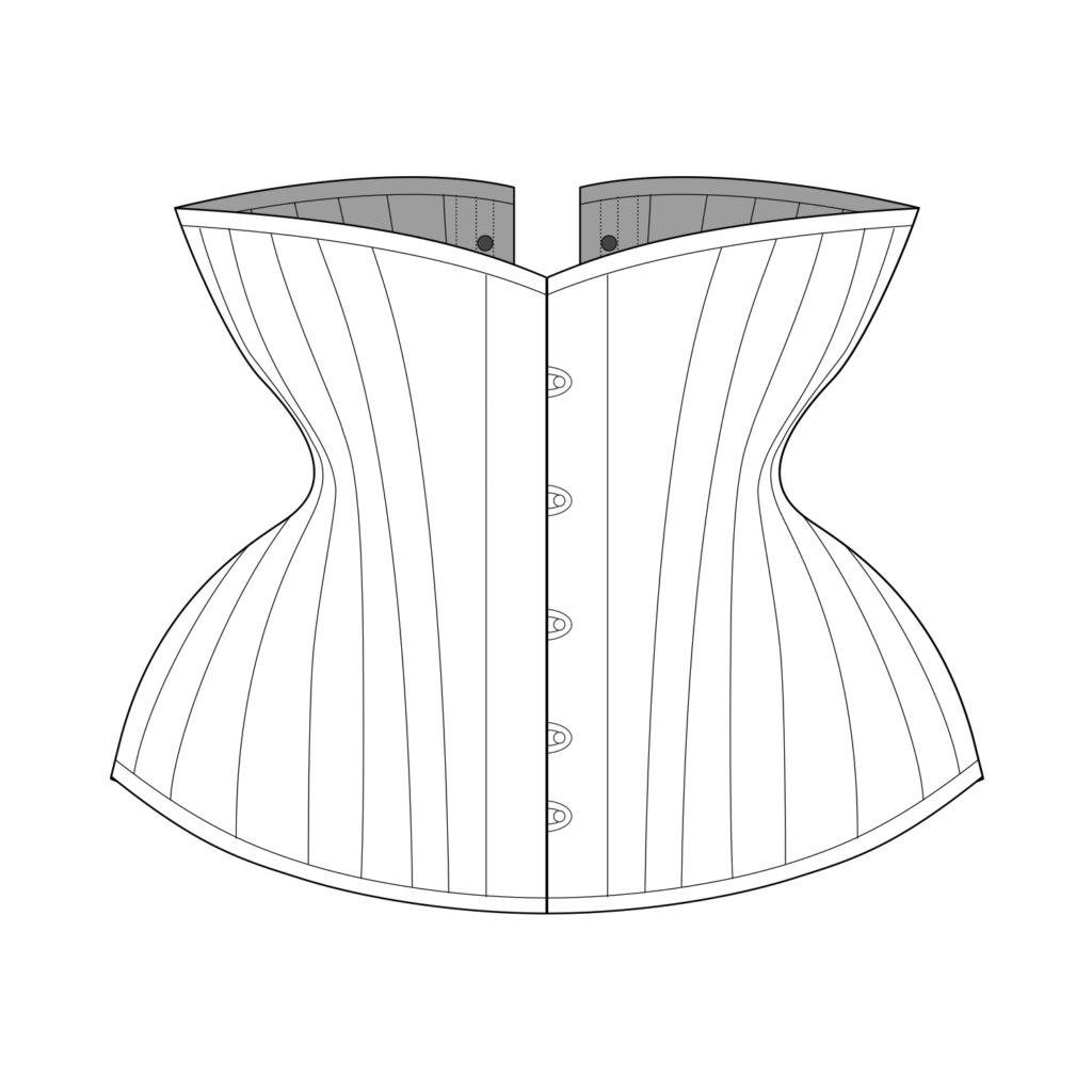 Sparklewren Pattern Technical Illustration - Bird's Wing Underbust Corset