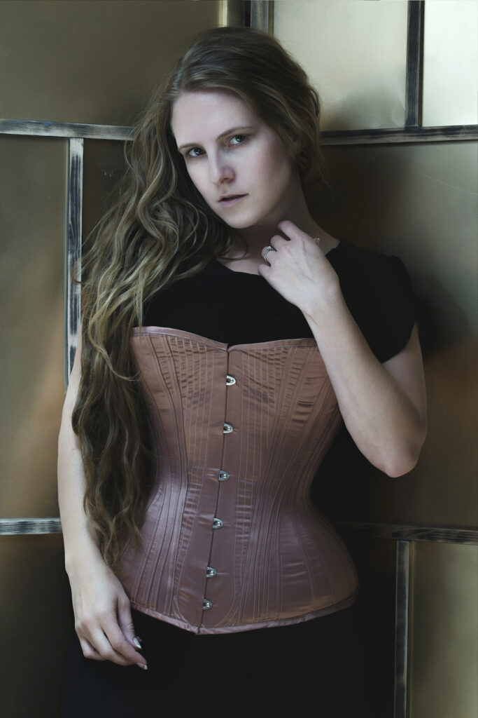 'Rose Gold' corset by Sparklewren, modelled by Laurie Tavan. Photography by Jenni Hampshire