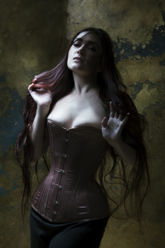 'Rose Gold' corset by Sparklewren, modelled by Victoria Dagger. Photography by Jenni Hampshire