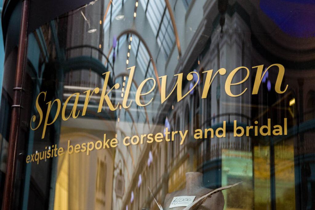 The Sparklewren Boutique window in 2013. Photography by P. J. Laskowski