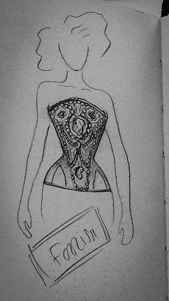 'Where Angels' Foolish corset sketch by Jenni Hampshire