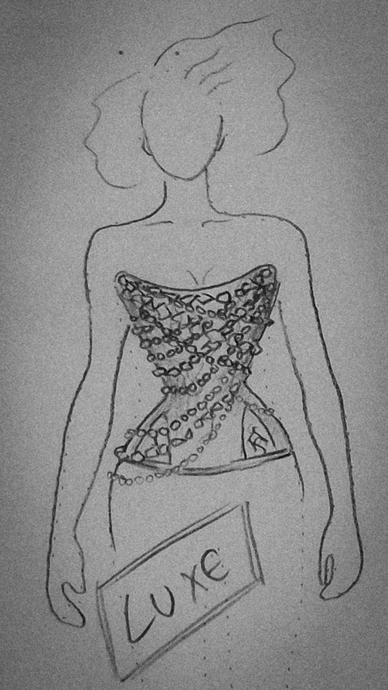 'Where Angels' Luxe corset sketch by Jenni Hampshire