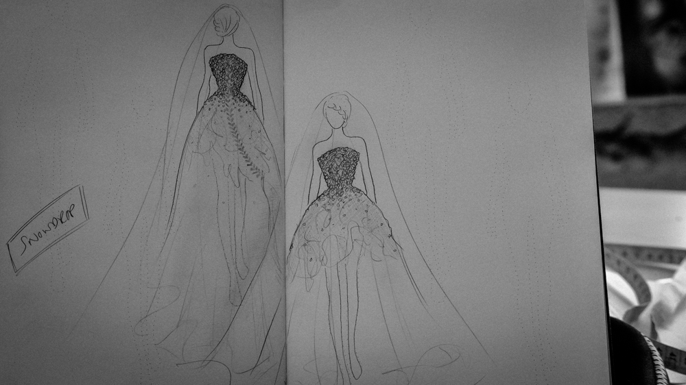 'Where Angels' Snowdrop corset sketch by Jenni Hampshire