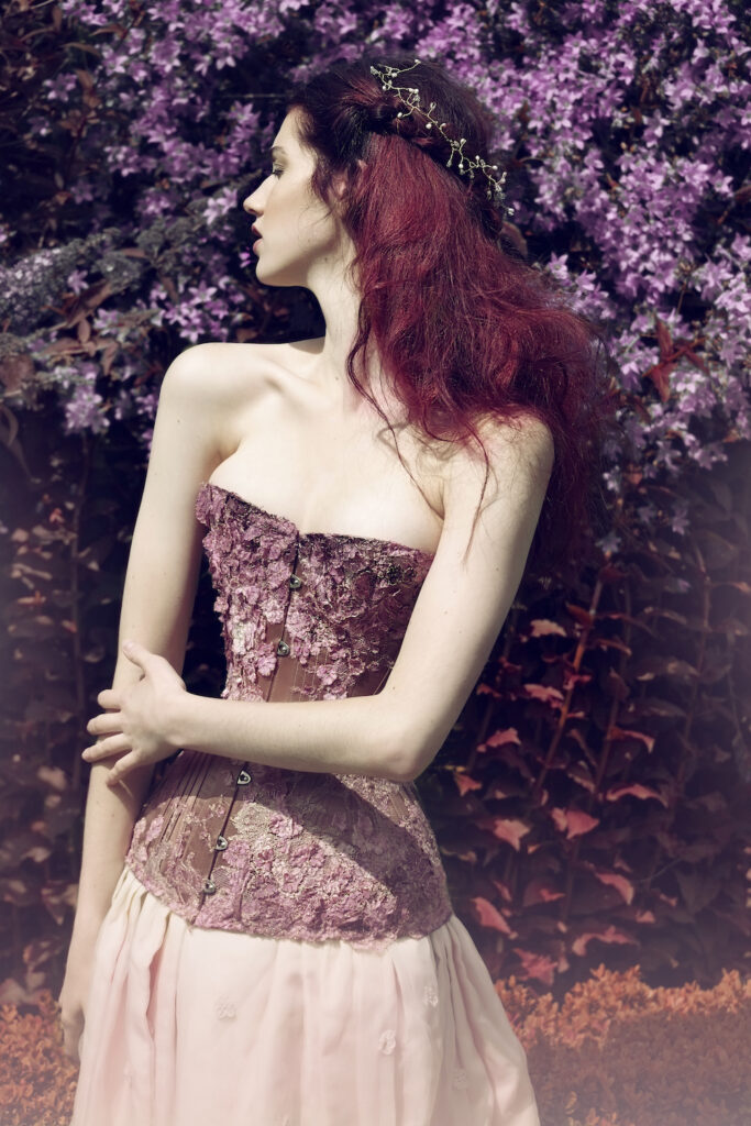 'Falling Blossoms' corset by Sparklewren, modelled by Helen Teiman, photography by Jenni Hampshire