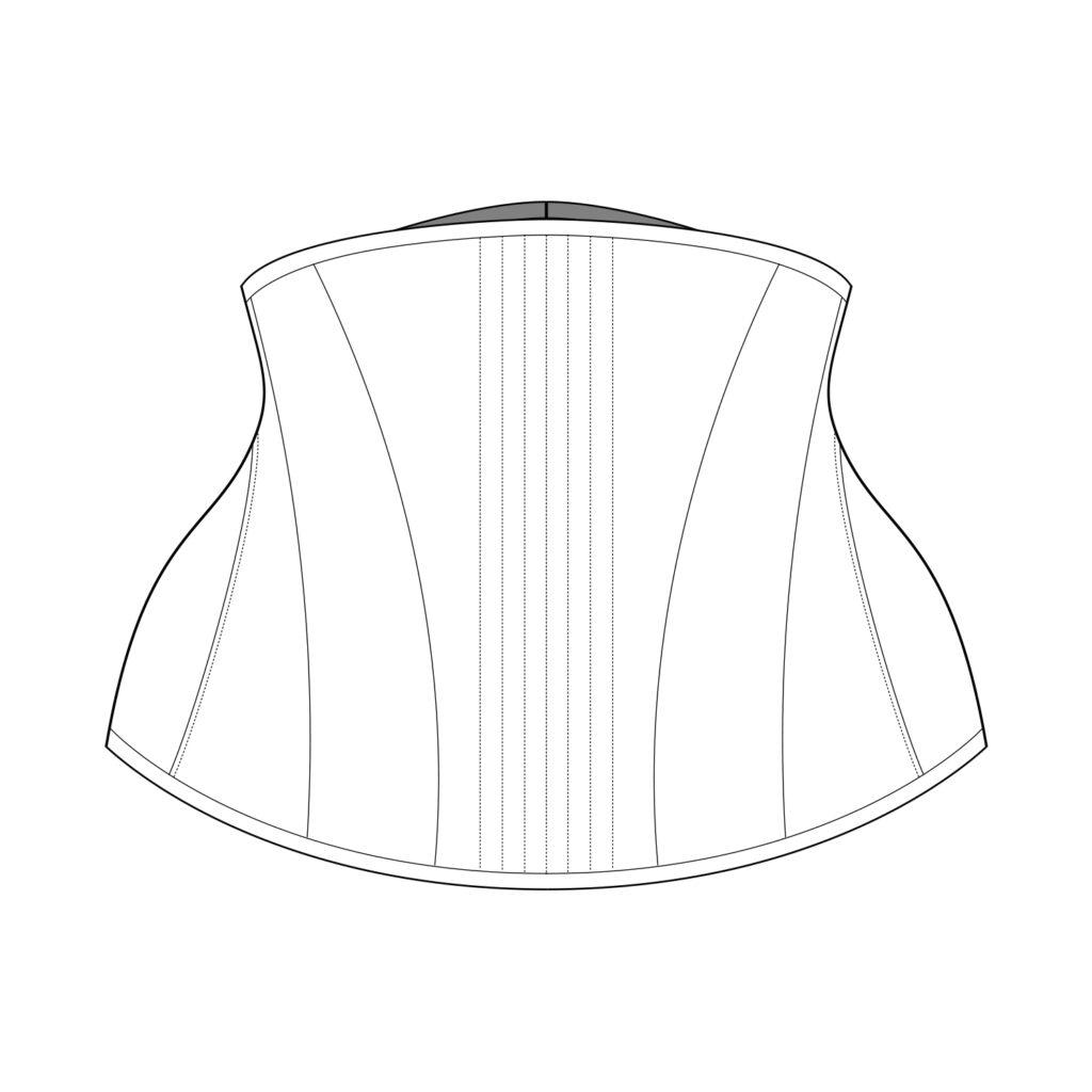 Sparklewren Pattern Technical Illustration - Gored Hip Underbust Corset
