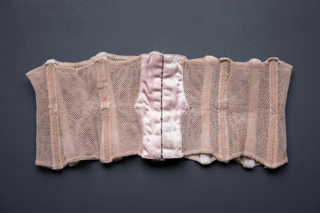 Tea Rose Elastic Net & Satin Waist Cincher, c. late 1940s-early 1950s. The Underpinnings Museum. Photography by Tigz Rice