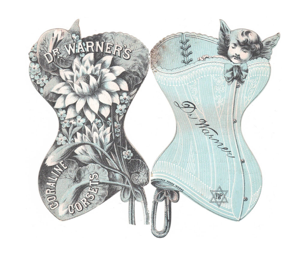 Die Cut Corset Trade Card By Dr Warner's, c. 1890s, Great Britain. The Underpinnings Museum
